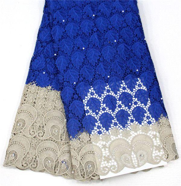 5 jardas Tecido de renda de laço de laço de cordão africano para vestido de festa de moda laço solúvel em água com pedras sr-3