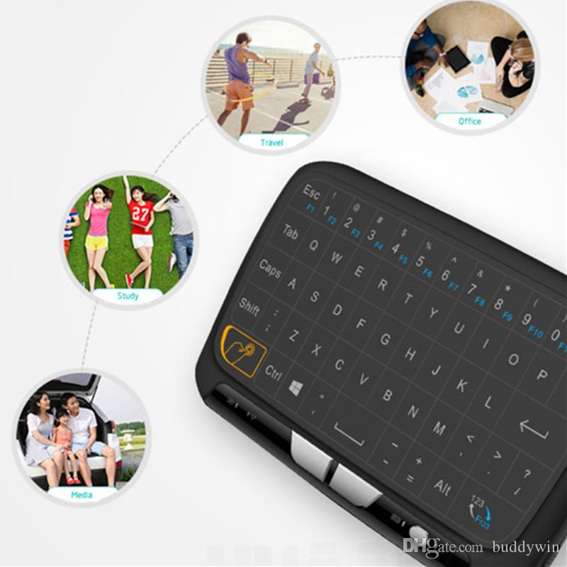 H18 Wireless Keyboard 2.4G Mini Fly Air Mouse Remote Control backlight Touchpad Keyboard For Adriod TV PC
