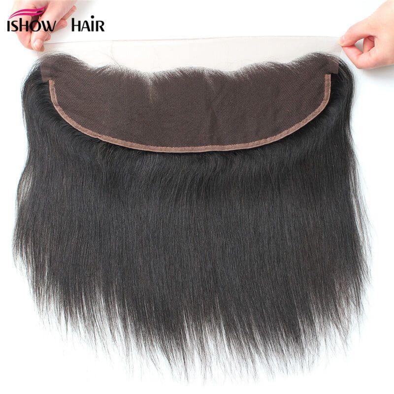 Ishow 10a Premium Перуанские прямые волосы девственницы 13 * 4 швейцарские малайзийские кружева лобное закрытие бразильский индийский для женщин девушки натуральный цвет 8-20 дюймов