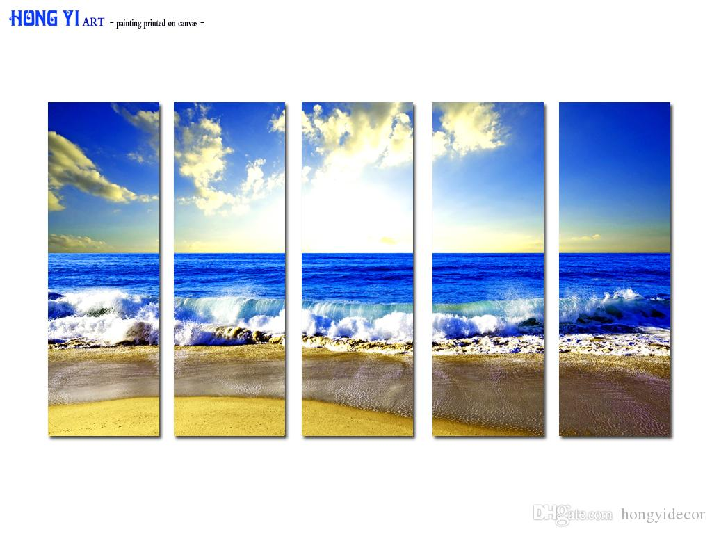 Large Hot Modern Contemporary Canvas Wall Art Print Painting Beach Sunset Seascape Landscape 5 Pieces picture Living Room home Decor Aset231