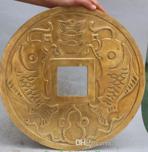 "16 ""bronce de bronce chino fengshui propicio riqueza dinero tesoro moneda estatua"