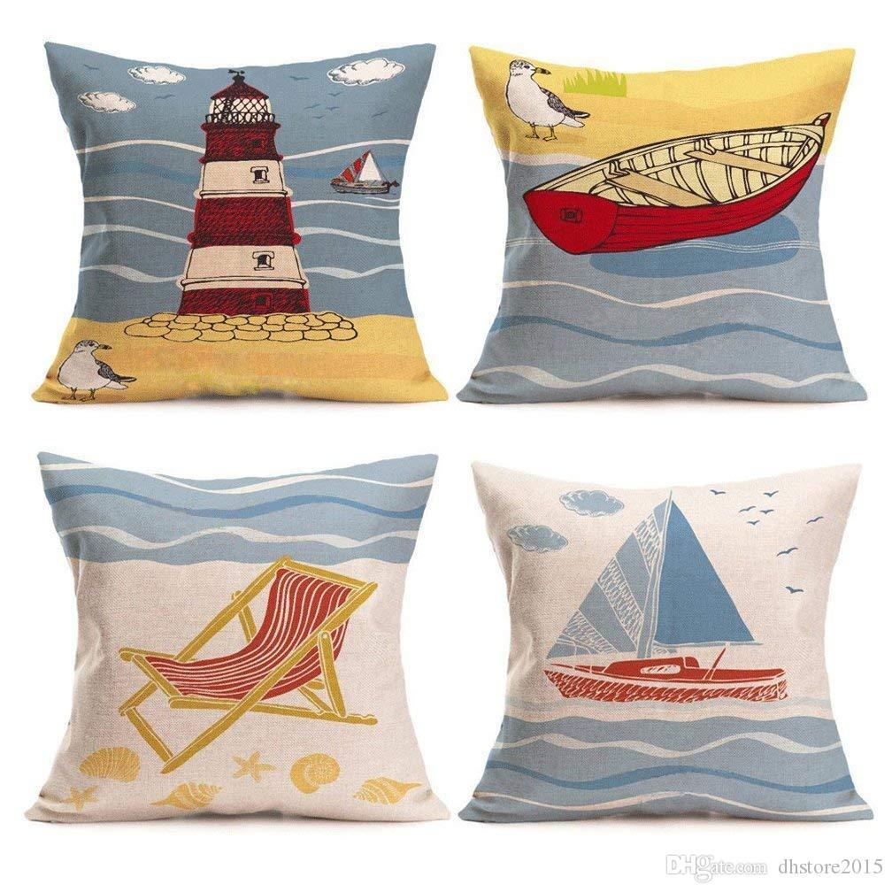 Taies d'oreiller de plage, housse de coussin en lin, coton, drapier côtier, thème de la mer, 18 x 18 pouces, ensemble de 4