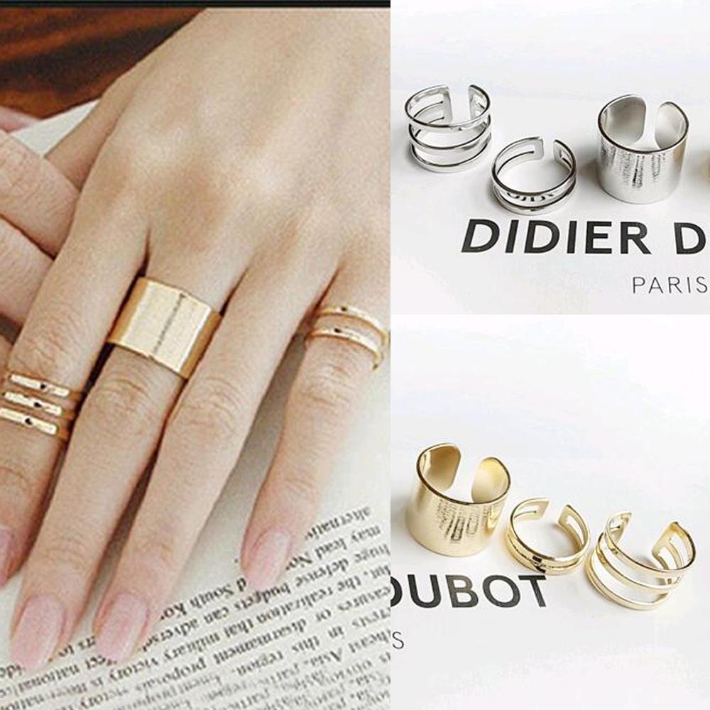 Anillos 3 Unids / set Parte superior del dedo sobre la punta del dedo sobre el nudillo Anillo abierto para mujeres Conjunto de anillo de bodas de joyería de moda