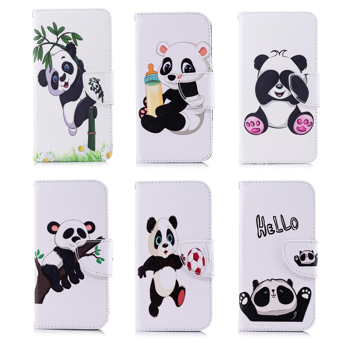 Lovely Panda Mobile Phone Flip Case Stand PU Leather Cover with Wallet Card Money Holders (68 Models for Option)
