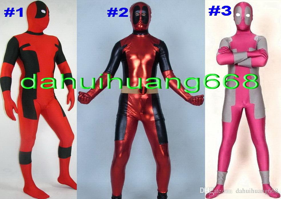 New 3 Style Lycra Spandex Deadpool Catsuit Costumes Unisex Fantasy Superhero Deadpool Body Suit Costumes Fancy Dress Party Costumes DH256