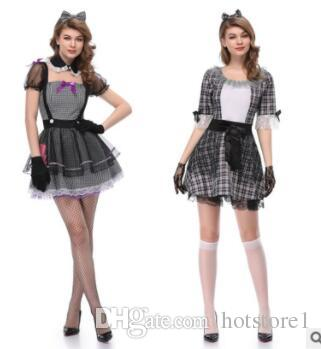Halloween maid dress masquerade party dress word shoulder sexy maid uniform horror theme clothing DS clothes