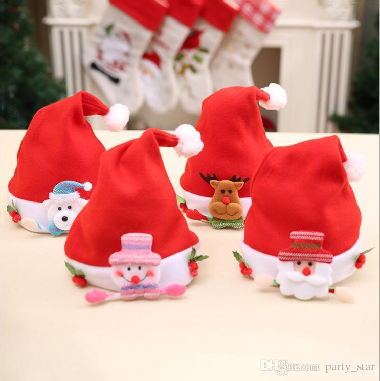 On Sale Kids Christmas Hat Free Size Cartoon Santa Claus Snowman Elk Bear Hat Decorations Children Party Caps Prop