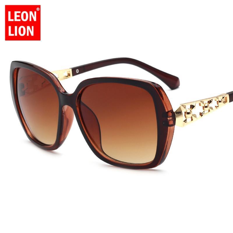 LeonLion 2018 Vintage-Sonnenbrillen Frauen Brand Design große Feld-Sun-Glas-Party-Reise HD Lunette De Soleil Femme