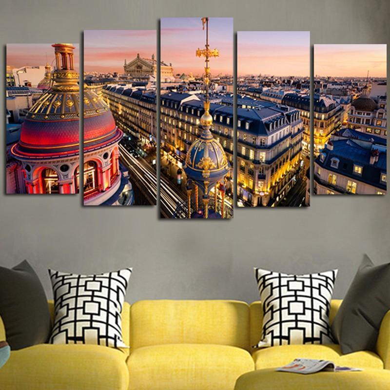 Новое Прибытие Специальное Предложение 5 Шт Пейзаж Спрей Живопись Красочная Архитектура Большой HD Городской Стены Фотопечать Современный