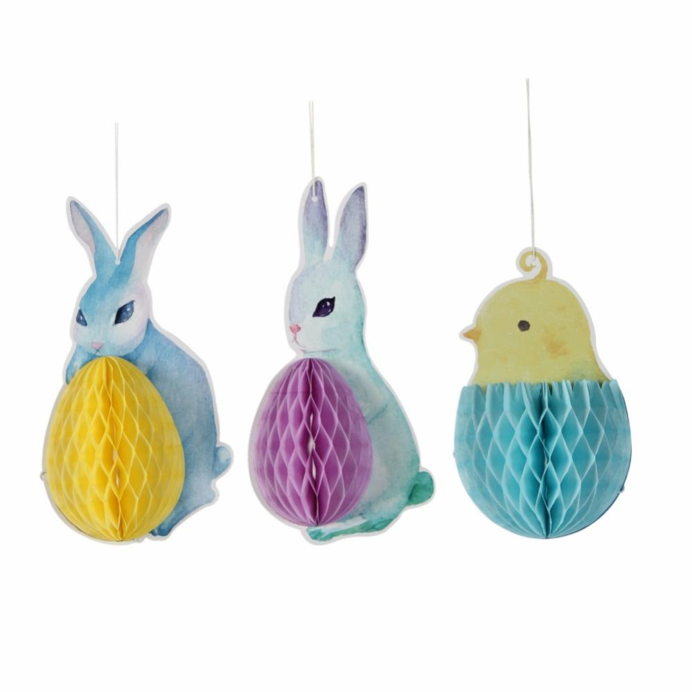 3pieces/set Blue Rabbit And Chicken Honeycomb Balls For Easter Party Decoration Hang Supplier for outside decorations for yard