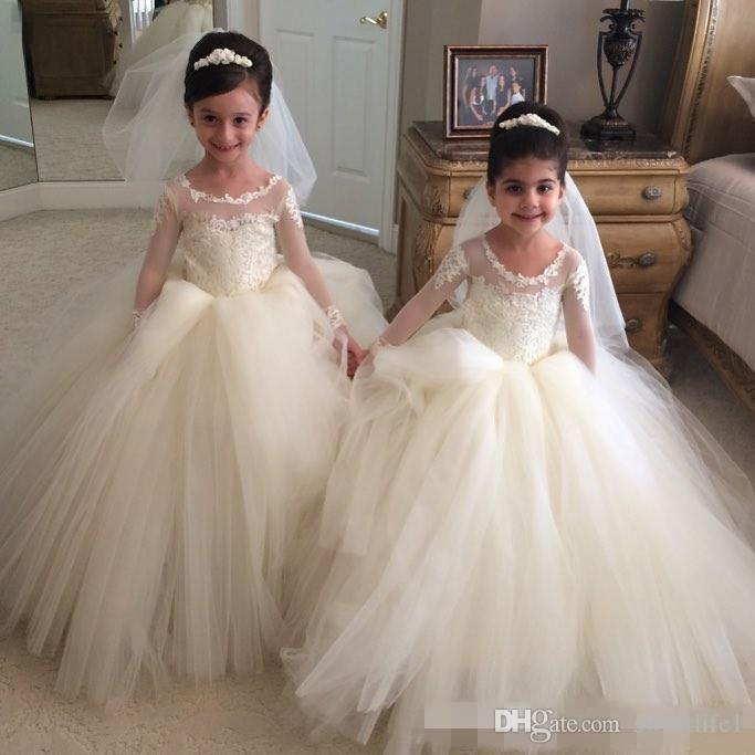 2019 White Tulle Sheer Jewel Neck Girls Pageant Dresses Long Sleeves Lace Appliques Ball Gown Kids Formal Wear Flower Girls Dresses