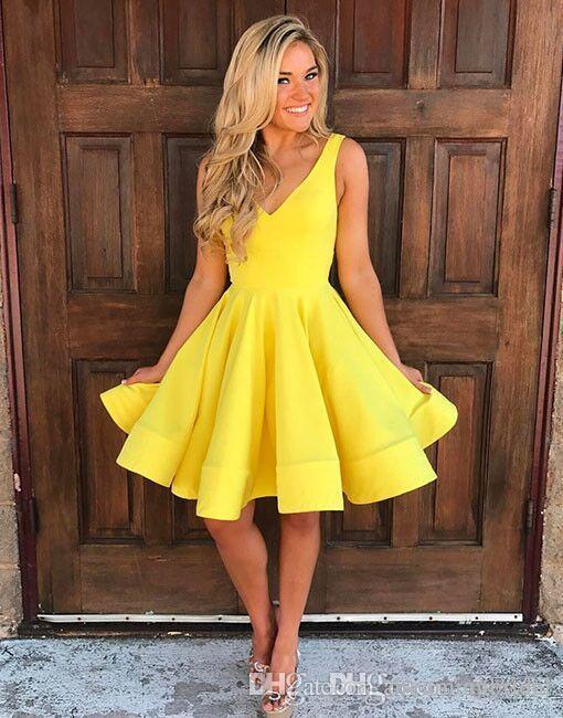 Simple gelb a linie kurze prom kleider cocktail kleid 2017 neue v nein ärmelloses scharf länge formale parteikleider benutzerdefinierte plus größe