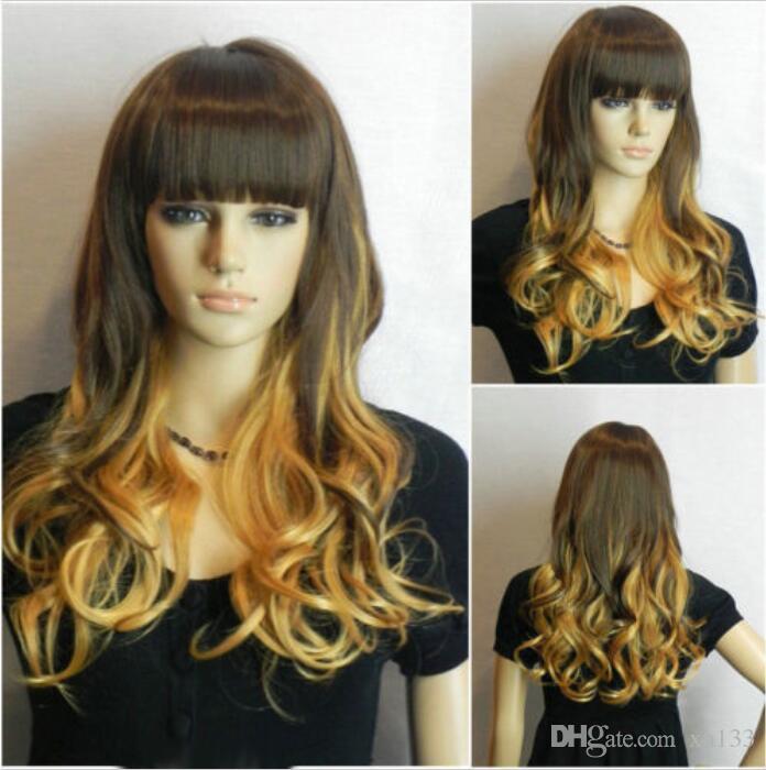 Neue Mode Lange Brown Mix Blonde Wellenförmige Frauen Dame Cosplay Perücke Perücken + Perücke Kappe