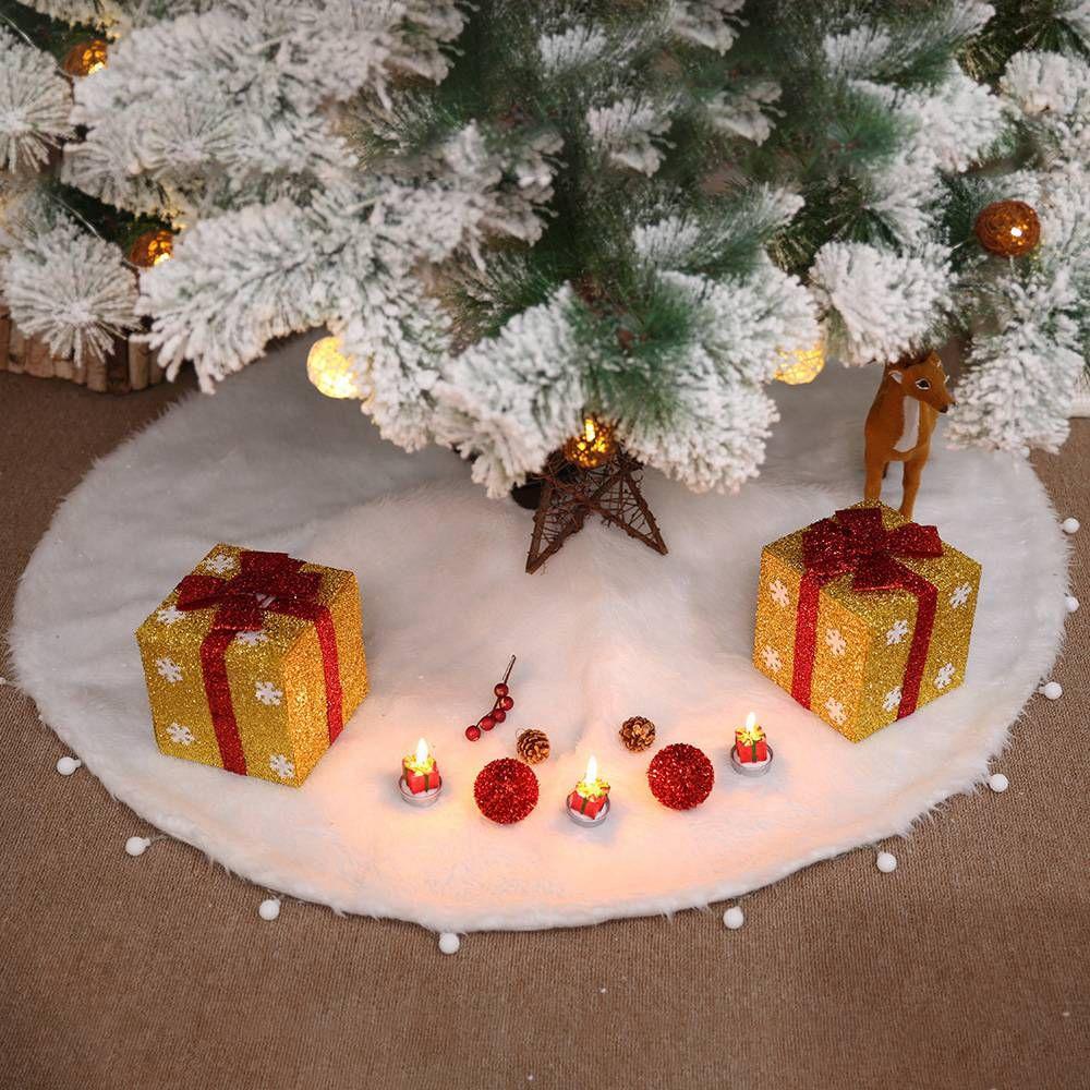 Décorations De Noël En Peluche Jupes D'arbre De Noël Jupe Arbre Blanc Pour La Décoration De Noël Accessoires Décoratifs Maison Ornements Fournitures