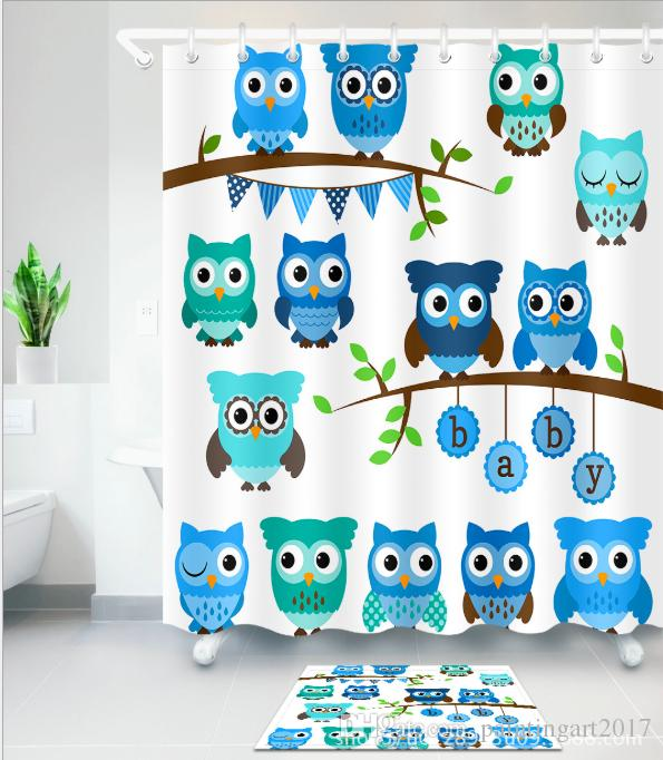 Home Decor Cute Owls on Tree Best Friends Forever Design for Friendship Decor for Teens and Girls Bathroom Shower Curtain mats