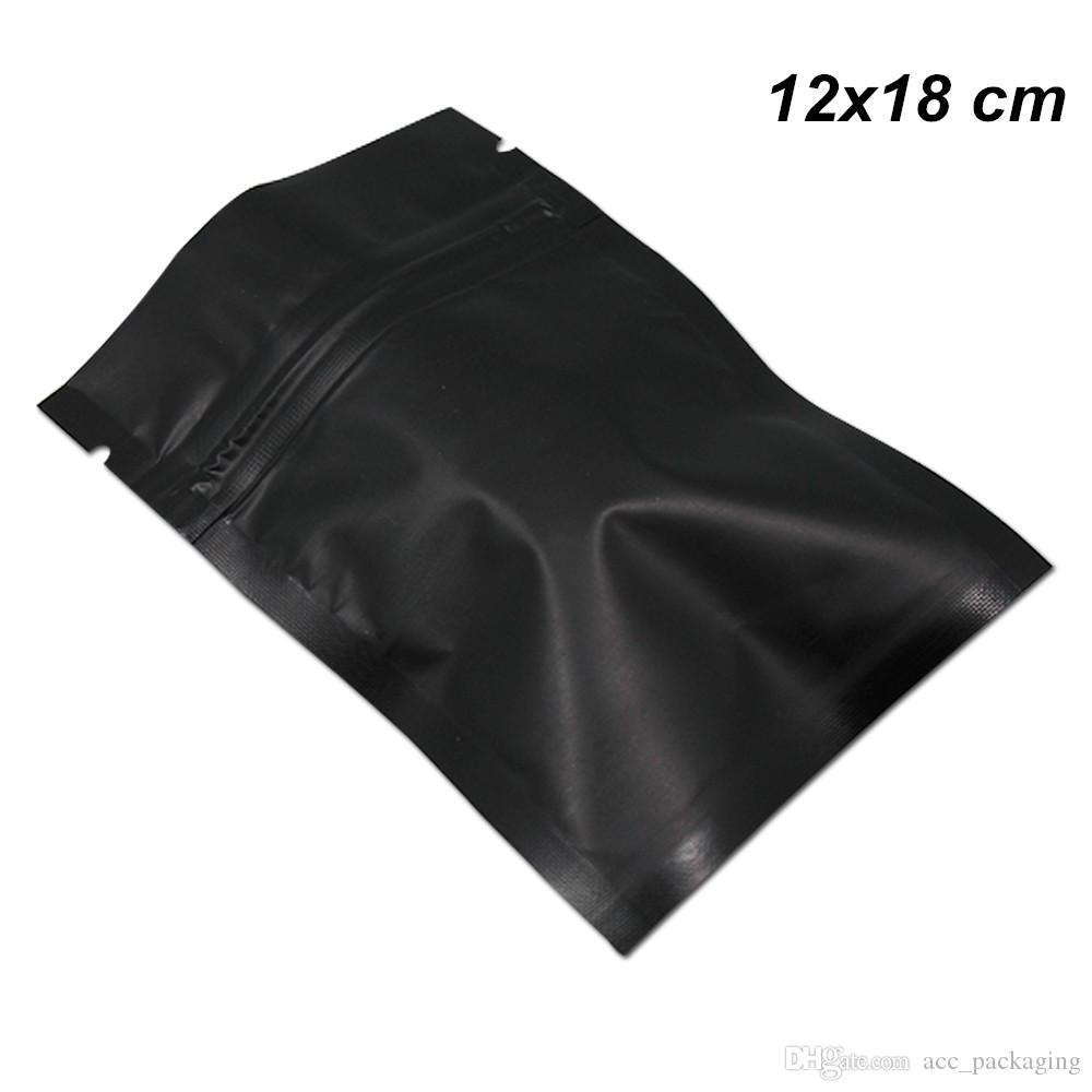 12x18 cm 100 Pz Matte richiudibile sigillatore di calore mylar Bag Black Zipper Food Preparation Attrezzature di alluminio imballaggio del sacchetto di snack
