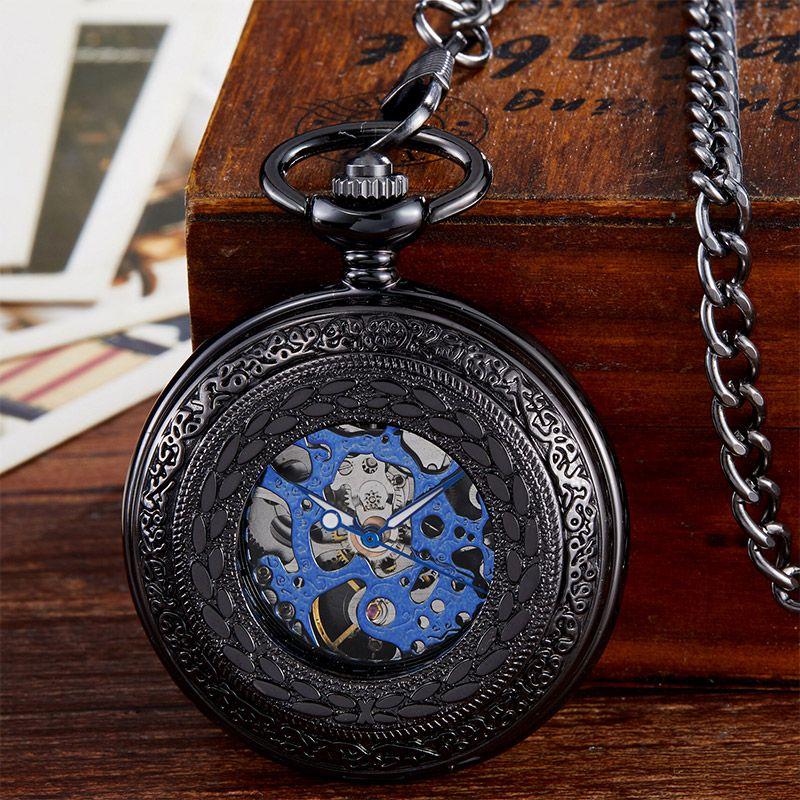 Black Mechanical Pocket Watch Men Vintage Hollow Hand Wind Fob Clock With Chain Pendant Men Women Gift