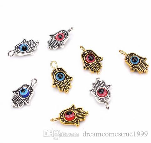 50pcs التركية همسة اليد الأزرق الشر العين سحر قلادة لصنع المجوهرات النتائج 19x12 ملليمتر
