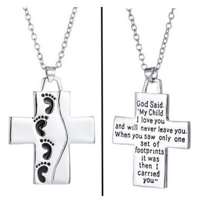 Nuevo collar colgante de pie cruz Letras de plata dios dijo colgante de cadena de amor collares regalo del día de la madre