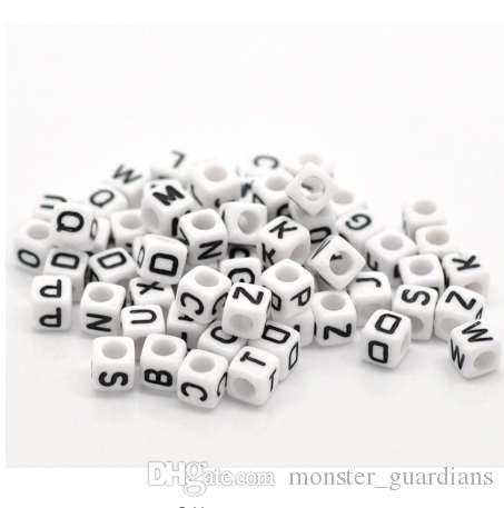"""Doreen Kutusu sıcak Karışık Beyaz Alfabe / Mektup Akrilik Küp Boncuk DIY Takı Yapımı Için 6x6mm (1/4 """"x1 / 4""""), 500 Adet (B18077)"""