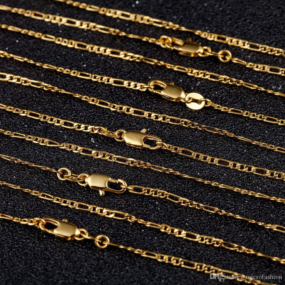 Gold 10pcs 2MM Größe Figaro Halskette 16-30 Zoll Mode Frau Schmuck Frau auf einfache Pullover Kette Schmuck Factory-Preis kann angepasst werden