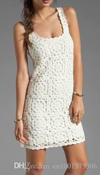 Handmade wedding dress, crochet dress,sleeveles clothing,motif square with flower,gift ideas,summer dress 100% cotton