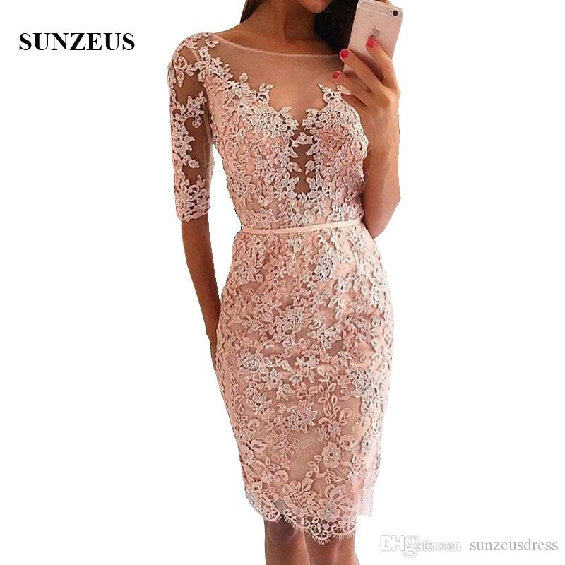 Sheath Half Sleeve Prom Dresses Beaded Appliques Lace Party Gowns Knee Length Special Occasion Gown gala jurken