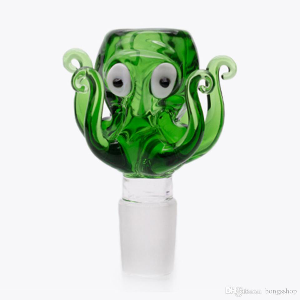New octopus design 14mm 18mm Glass Bowl green blue Colorful Bong Bowl Male Bowl Piece For Water Pipe Dab Rig Glass Smoking Bowls