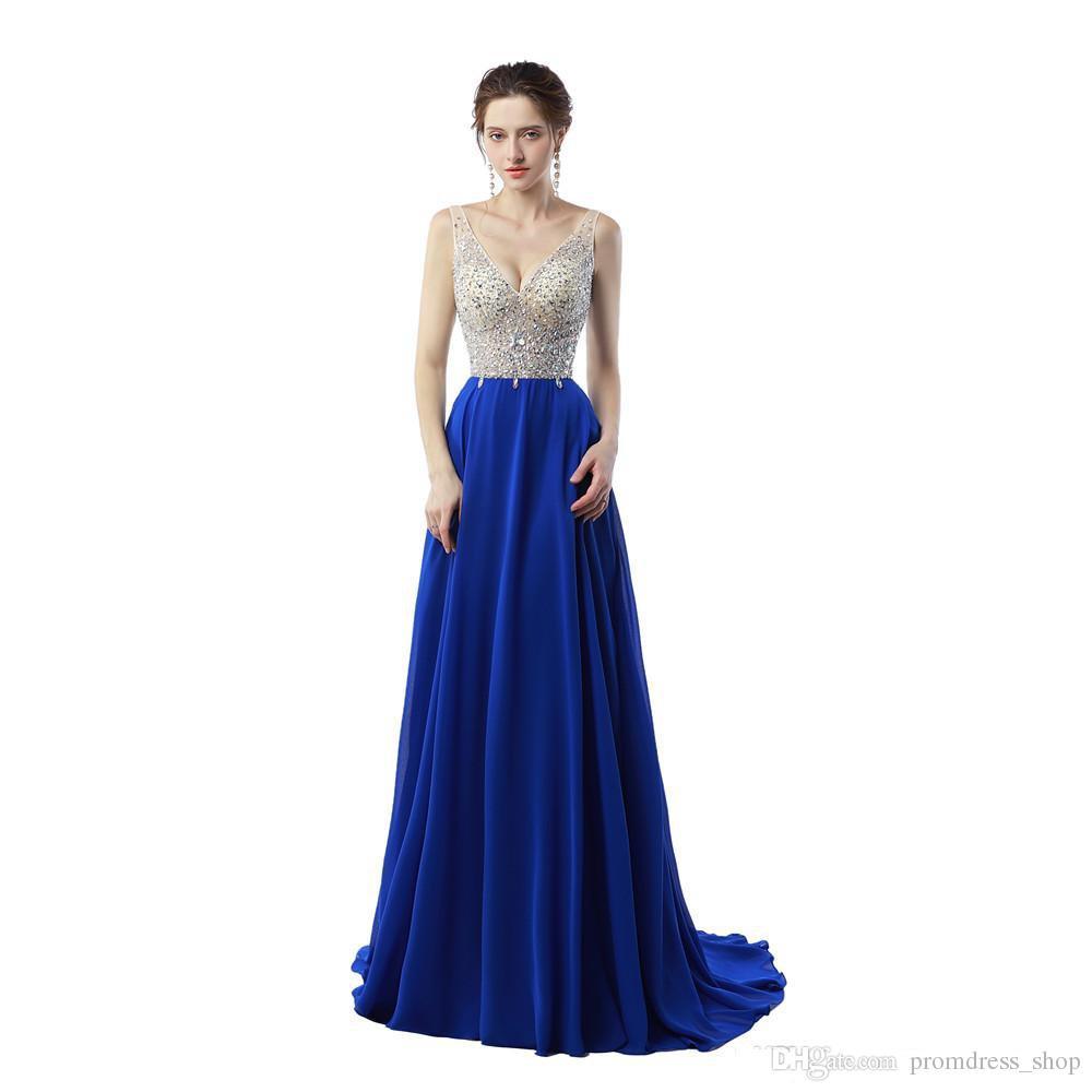 Großhandel Günstige New Vestido De Festa Longo De Luxo 12 Königsblau  Abendkleid Lange Chiffon Backless Abendkleider Von Promdress_shop, 12,12 €  Auf