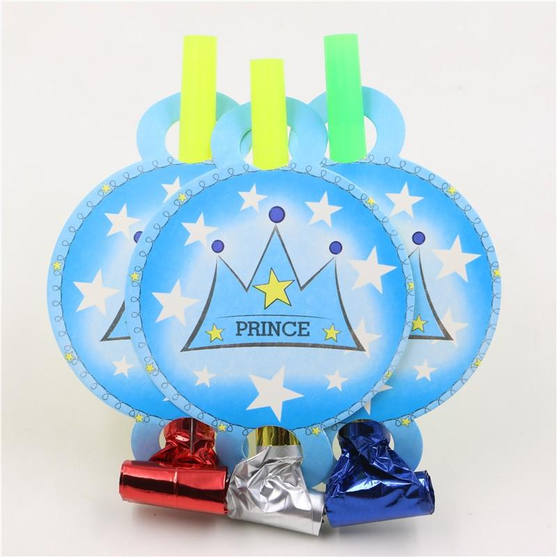 6pc bambini Birthday Party Toy Noise Maker Whistle Happy Baby Shower decorazione del partito Forniture Crown Princess tema Cartoon Blowout