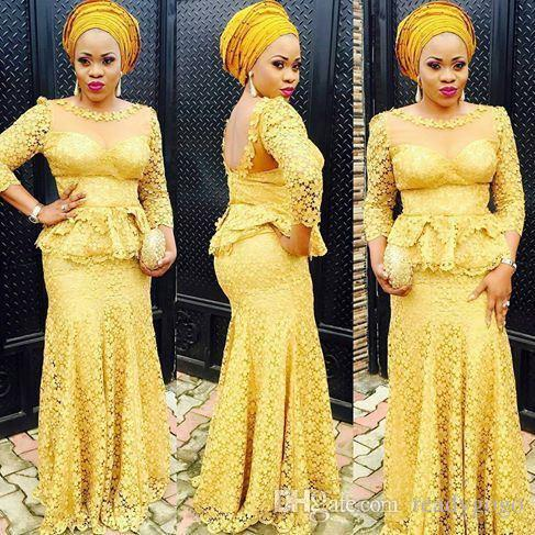 Yellow Lace Evening Dresses 2018 Illusion Bodice Aso Ebi Style Long Party Prom Gowns Lace Appliques 3/4 Long Sleeve Mermaid Sheer Neck