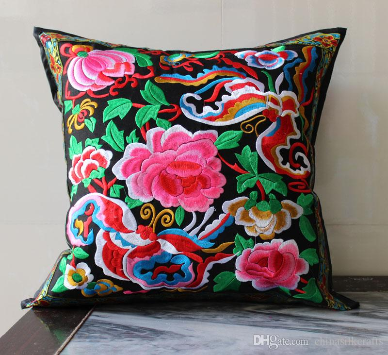 Chinese Full Embroidered Flower Decorative Cushion Covers for Sofa Chair Lumbar Back Cushion Vintage Ethnic Satin Pillow Cover Case 45x45 cm