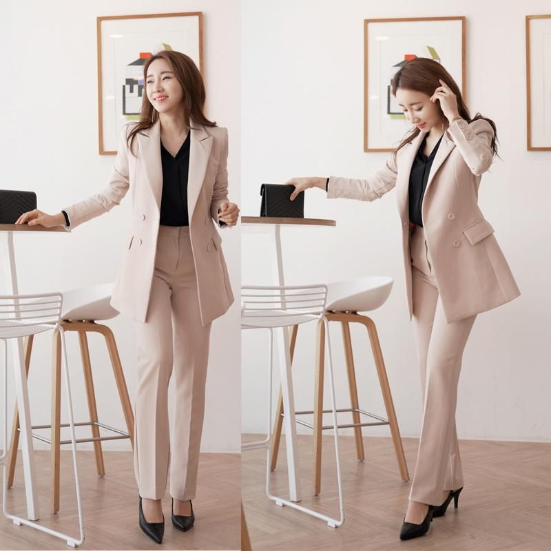 2021 Womens Work Business Fashion Pant Suits Sets Double Breasted Blazer  Jacket & Straight Pant Office Women Suit Outfit From Boniee, $53.81 |  DHgate.Com