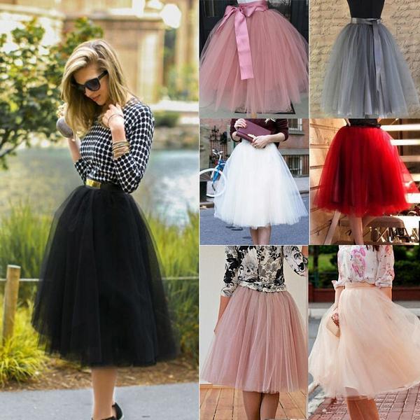 Mode Frauen Tüll Adult Tutu Rock Petticoat Hochzeit Prinzessin Ballett Prom Rock