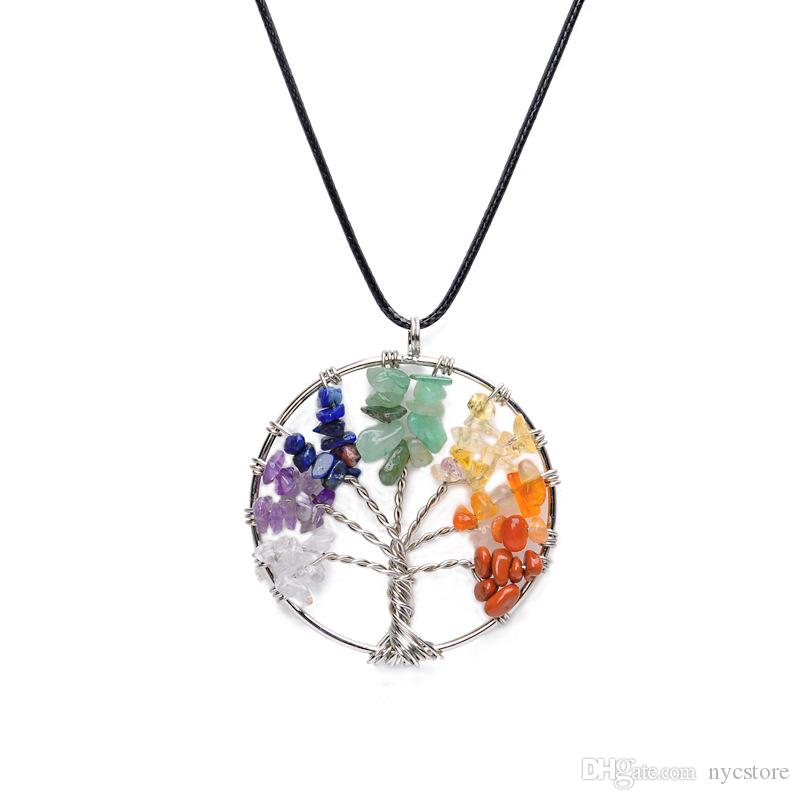 Women Rainbow 7 Chakra Amethyst Tree Of Life Quartz Chips Pendant Necklace Multicolor Wisdom Tree Natural Stone Necklace