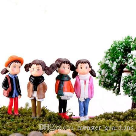 4/6 adet Ev DIY Minyatür Heykelcik Xiaomei Kızlar Mikro Peyzaj Dekor Mini Peri Bahçe Süs Çeşitli Set Reçine Zanaat