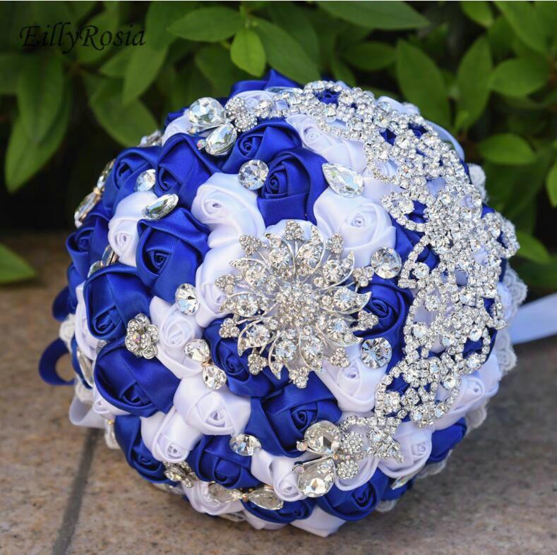 Wedding Bouquets Blue Flowers Wedding Bouquet Custom Made Colorful Jewelry Crystals Satin Artificial Fake Flowers for Wedding ramo de novia