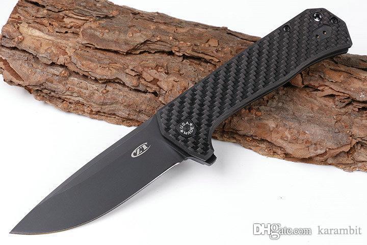 Adam 1pcs ZT Sıfır Tolerans 0804 ZT0804 D2 palet bıçağı titanyum + karbon fiber saplı Katlanır Knife'ın şimdi hediye bıçağı