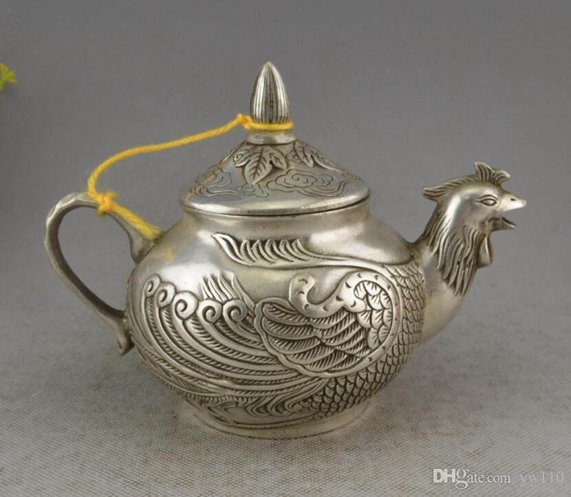 La collection de la Chine de la vieille théière de poulet faite à la main en cuivre plaqué argent