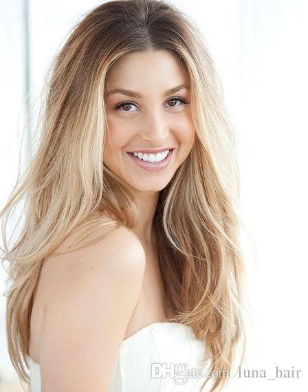 100% sin procesar suave brillo atractivo nuevo remy cabello humano virginal color largo natural recto lleno de encaje de seda peluca superior para las mujeres