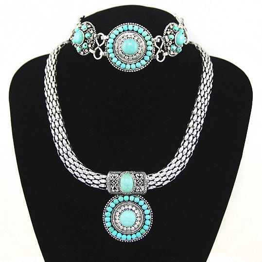 Blue Stone Vintage Jewelry Sets Women Beaded Necklace and Bracelet Set Wide Silver Choker Necklace Set Costume Jewelry nkeh89