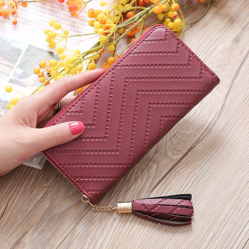 9 colors Simple personality Japan and South Korea Women's Wallet Long Clutch Handbags Student wallet zipper wallet Mobile phone wholesale