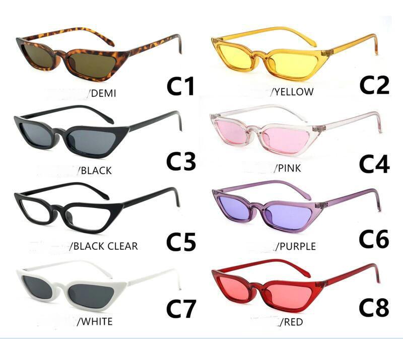 2018 europäische und amerikanische trendige Sonnenbrille kleine Rahmen transparent scharffüßige Katzenauge Sonnenbrille 7color kann wählen SUNGLASS.