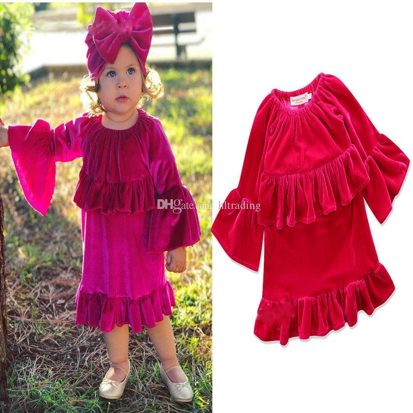 Baby Gold Samt Kleid INS Lotus Blatt Spitze Prinzessin Kleider 2018 neue Mode Kinder Kleidung Boutique Mädchen Rüschen Ballkleid C3551