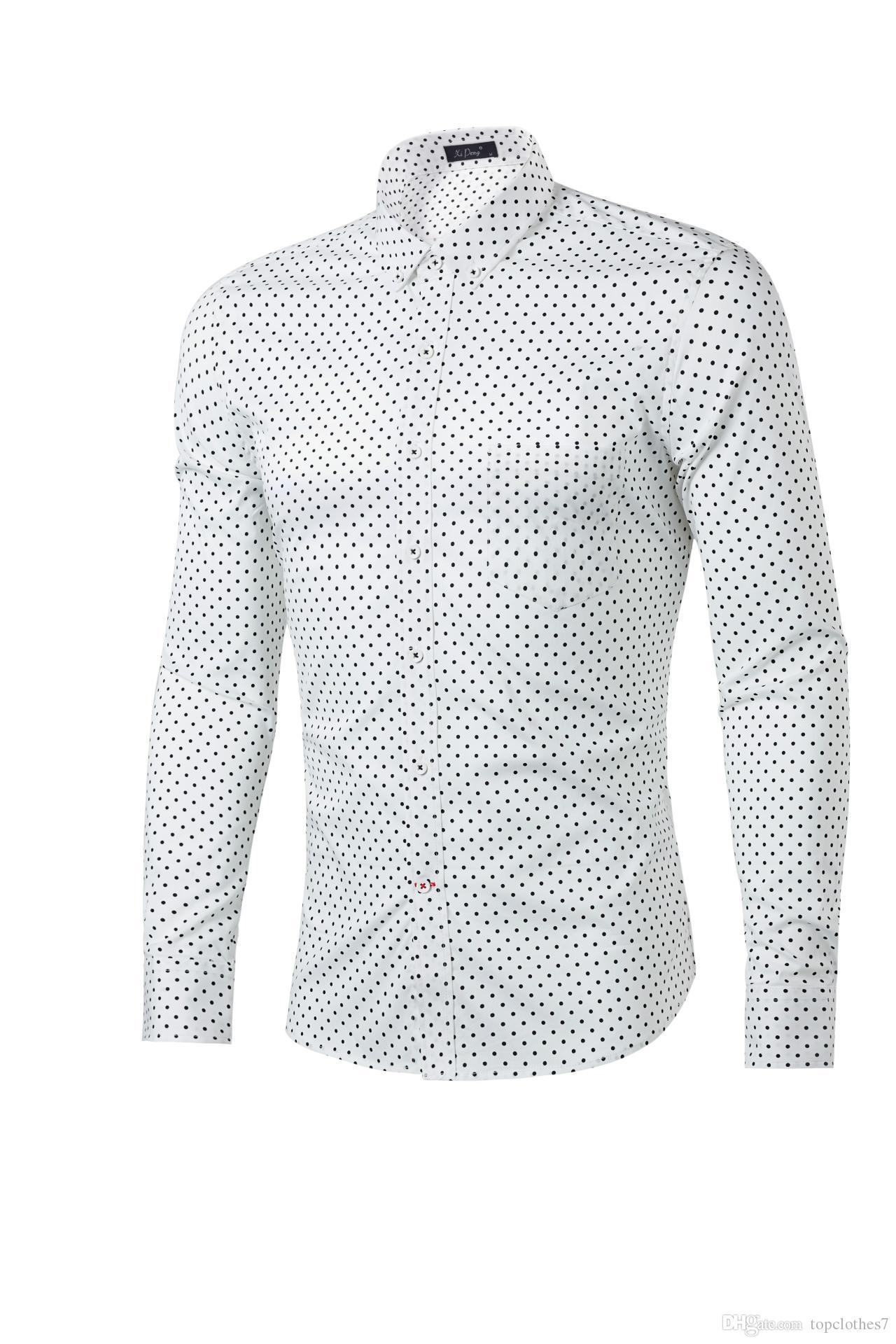 Горячие продажа рубашки Мужские горячие продажа роскошные стильные повседневные дизайнерские платья горошек рубашка мышцы подходят рубашки