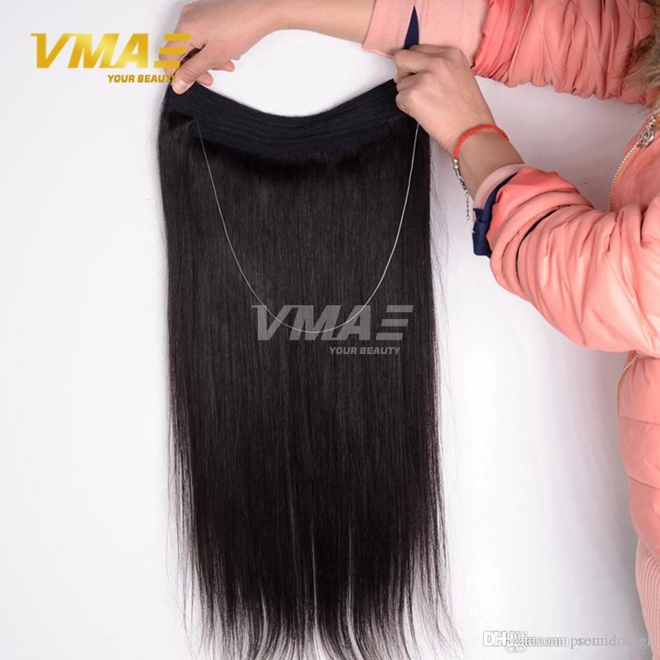 브라질 스트레이트 플립 색상 확장 머리 12-30 인치 1 개 세트 120 그램 140 그램 160 그램 헤일로 비 레미 레이디 인간의 머리 확장