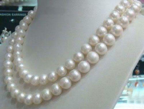 """Подробности о 8-9 мм подлинный натуральный белый Akoya культивированный жемчуг ювелирные изделия ожерелье 32"""""""