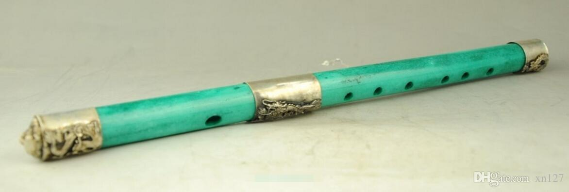 Chinese old handwork Tibet-Silver Carved Dragon Phoenix antique Jade Flute