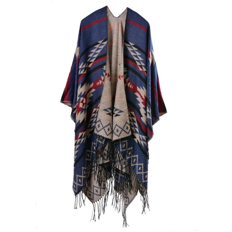 Bohemian Women's Autumn Winter Poncho Ethnic Scarf Fashion Print Blanket carves Lady Knit Shawl Tassel Cape Thicken Pashmina S1020