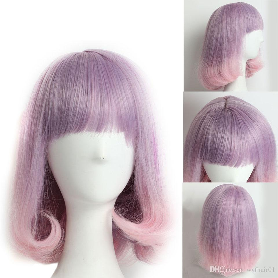 Fashion Purple Wig Pink Cosplay Wigs Party women s Ombre Wigs with Bangs  Heat Resistant Synthetic Hair Wigs for Black Women White Women cae0e637f6